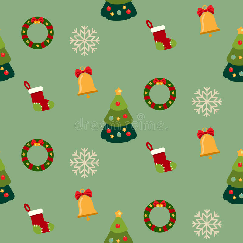 Christmas seamless pattern with new year holidays symbols vector illustration