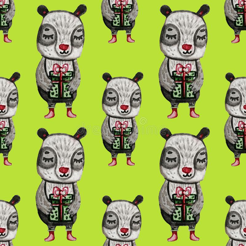 Christmas seamless pattern with panda. New Year's cute animal. Green background. Print painted in watercolor royalty free illustration