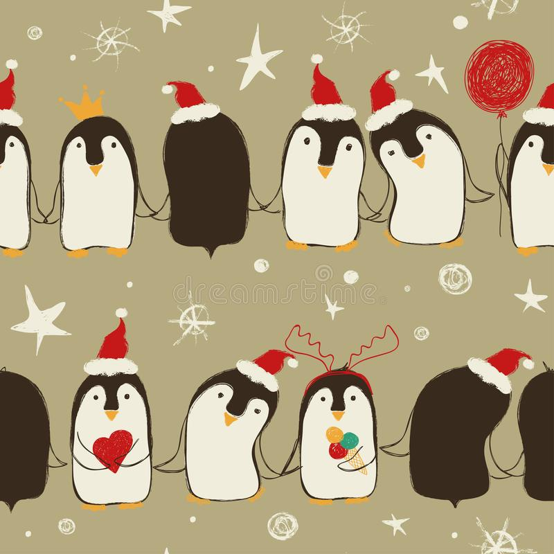Christmas Seamless Pattern Of Penguins. royalty free illustration