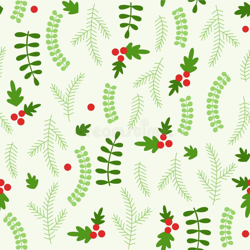 Christmas seamless pattern pine leaves with clipping mask, easy to editable stock illustration