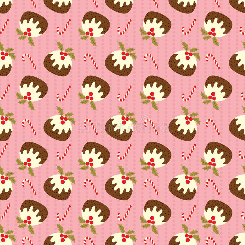 Christmas seamless pattern with pudding and candy cane on pink polka dots background. Cute holiday vector illustration. For wallpaper, web page, menu background stock images