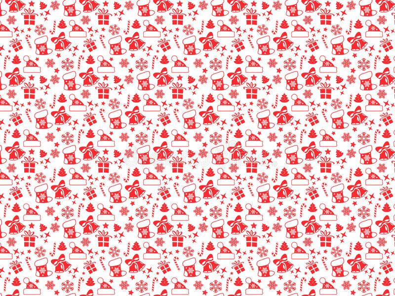 Christmas seamless pattern with Christmas red elements stock photo