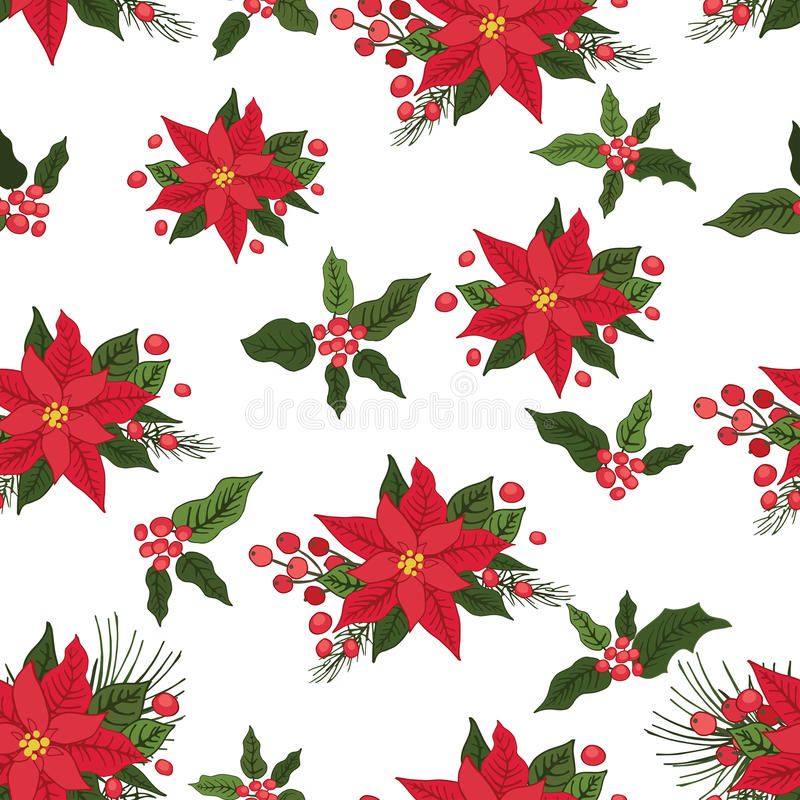 Christmas seamless pattern. Red poinsettia,holly, royalty free illustration