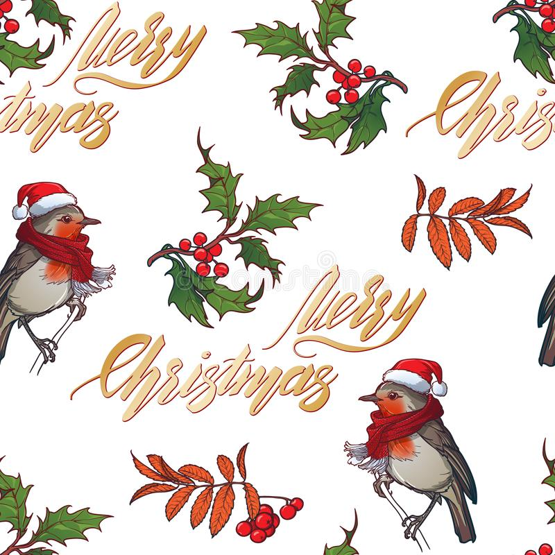 Christmas seamless pattern. Robin bird in a red christmas hat and skarf. Holly leaves and berries. Handwritten sign stock illustration