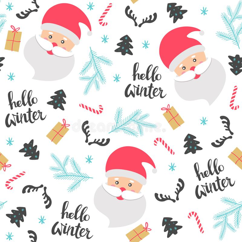 Christmas seamless pattern with Santa Claus. vector illustration