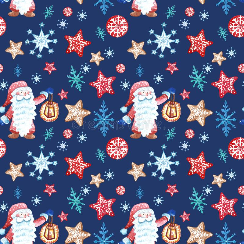 Christmas seamless pattern with scandinavian gnome in red clothes and with snowflkes ornament on blue royalty free illustration