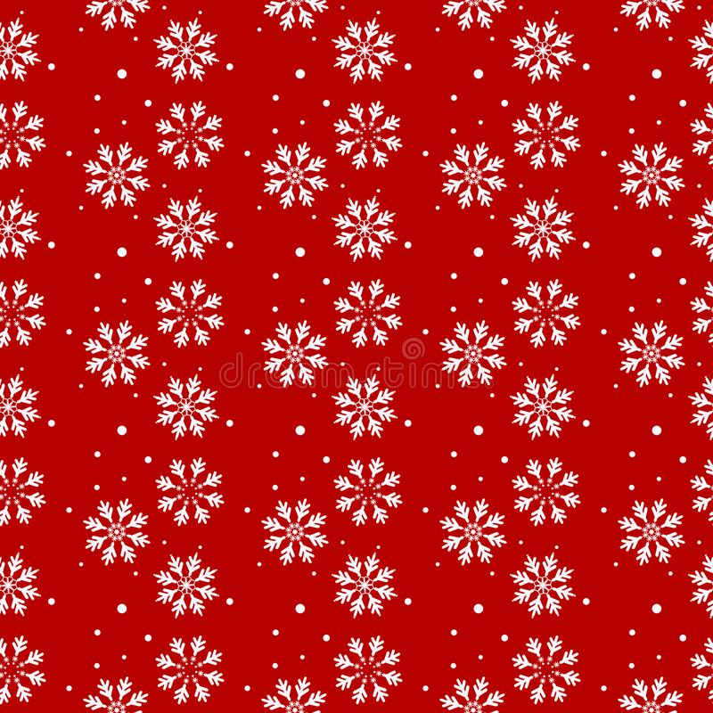 Christmas seamless pattern with snowflakes abstract background. White snowflakes. Vector illustration. Red background stock illustration