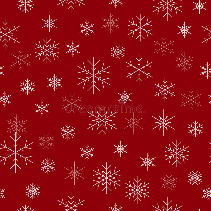 Christmas seamless pattern with snowflakes. Red background for C royalty free stock photo