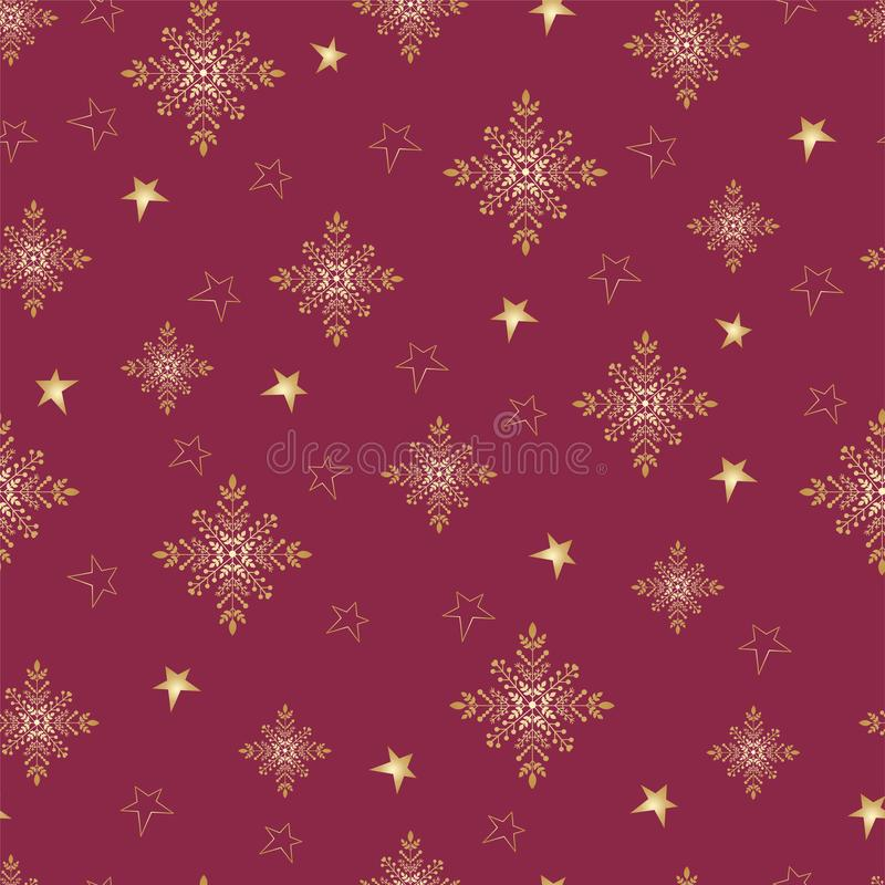 Seamless pattern of snowflakes and stars royalty free illustration