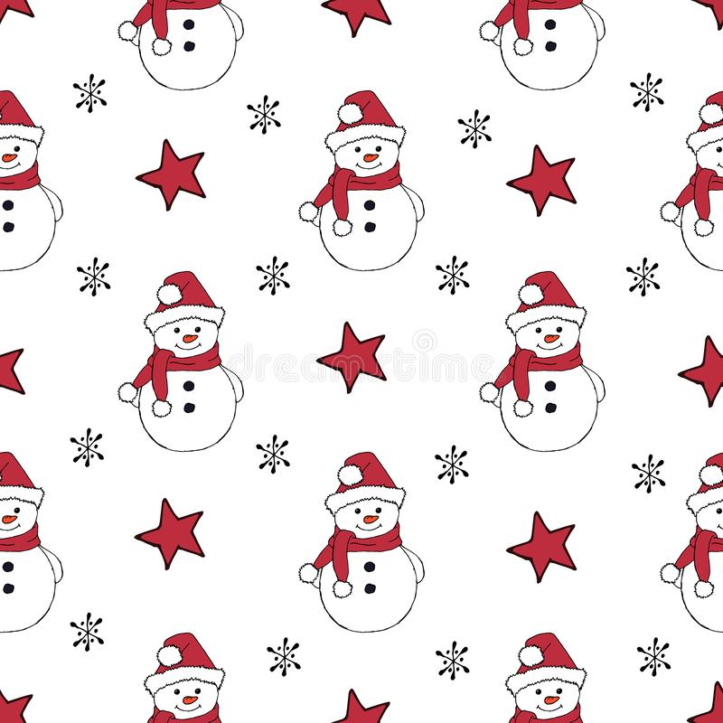 Christmas seamless pattern with snowman, fir trees and snowflakes. Perfect for wallpaper, wrapping paper, pattern fills vector illustration