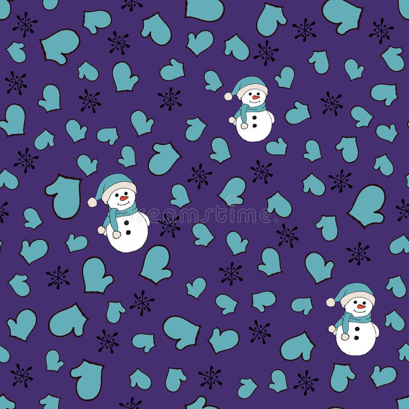 Christmas seamless pattern with snowman, fir trees and snowflakes. Perfect for wallpaper, wrapping paper, pattern fills stock illustration