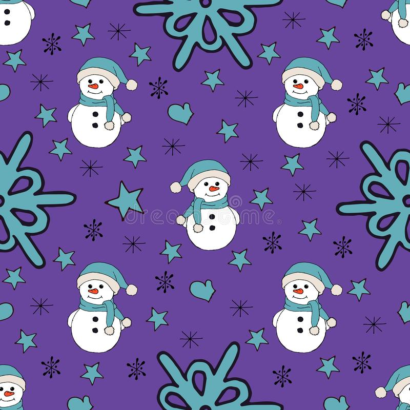Christmas seamless pattern with snowman, fir trees and snowflakes. Perfect for wallpaper, wrapping paper, pattern fills royalty free illustration