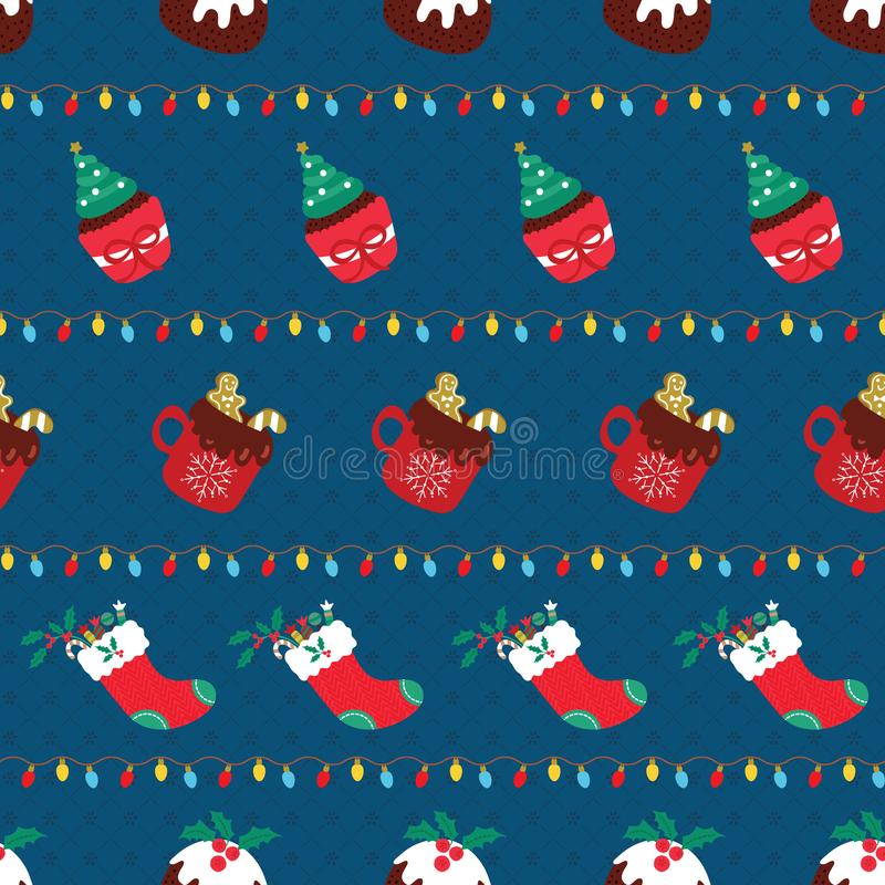 Christmas seamless pattern with sweet dessert and hot chocolate arranged in stripes lines with colorful lights. Cute holiday vector illustration vector illustration