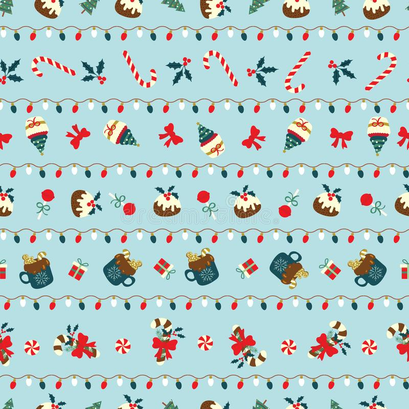 Christmas seamless pattern with sweet desserts arranged in stripes line with christmas lights. Cute holiday vector illustration. For wallpaper, web page, menu stock photos
