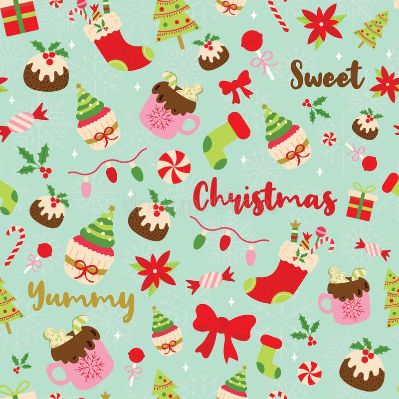 Christmas seamless pattern with sweet desserts and lettering. Christmas seamless pattern with sweet desserts, hot chocolate, candies, lights, christmas tree royalty free illustration