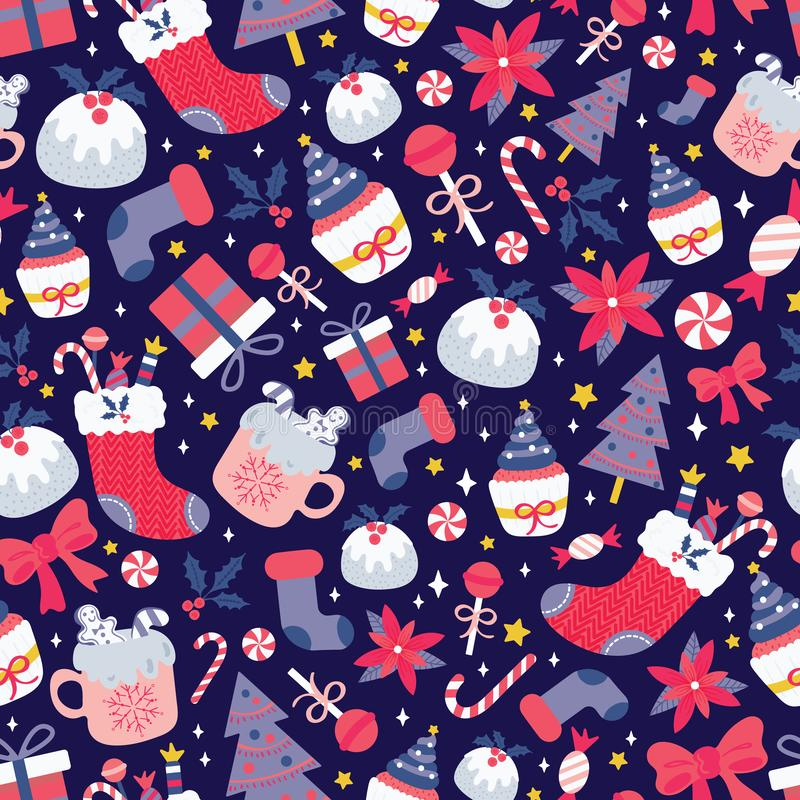 Christmas seamless pattern with sweet desserts, milk, candies, gift box, christmas tree, ribbon, poinsettia and holly berry. On starry background. Cute holiday vector illustration