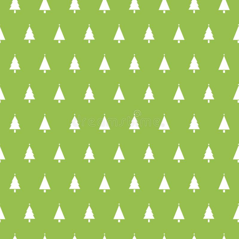 Christmas seamless pattern with christmas trees on green background. Winter Holidays texture. Design for wallpaper, web stock illustration