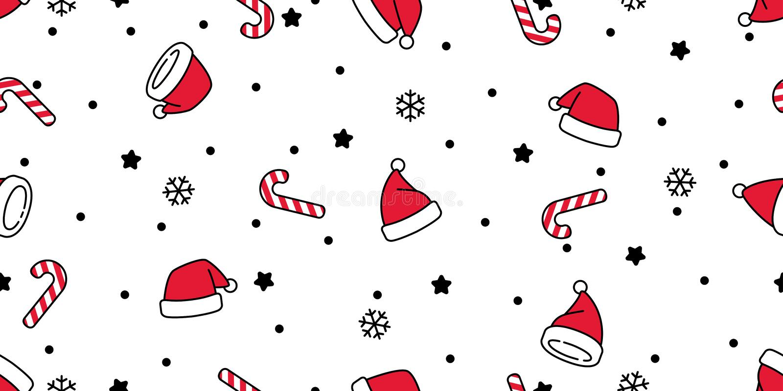 christmas seamless pattern vector santa claus hat snow candy cane snowflake scarf isolated repeat wallpaper tile background gift 158324441