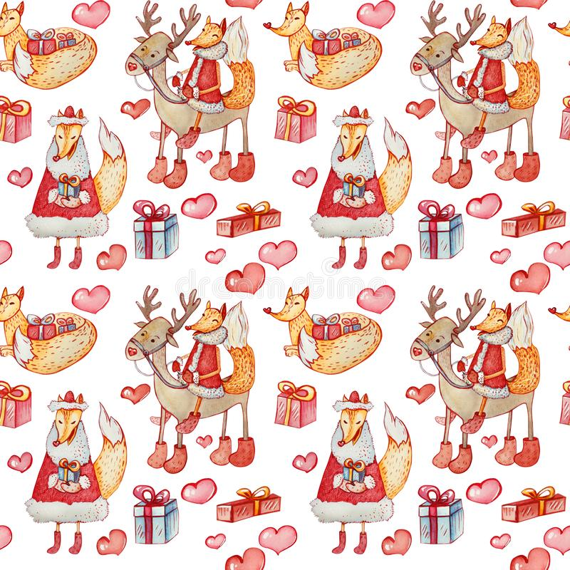 Christmas seamless pattern with watercolor foxes stock illustration
