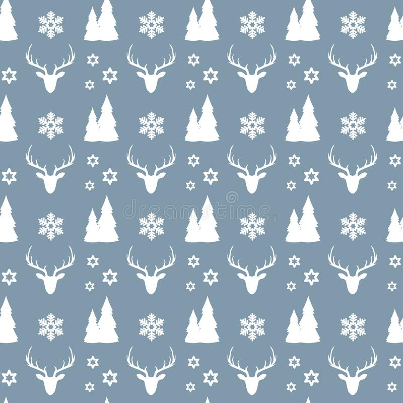 Christmas seamless pattern with white deers, houses, fir trees, snowflakes and stars on blue background. stock illustration