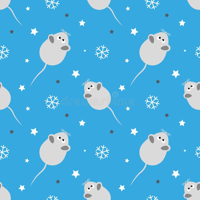 Christmas seamless pattern, white rats and snowflakes on a blue background. Festive design for Christmas and New Years fashion pri vector illustration