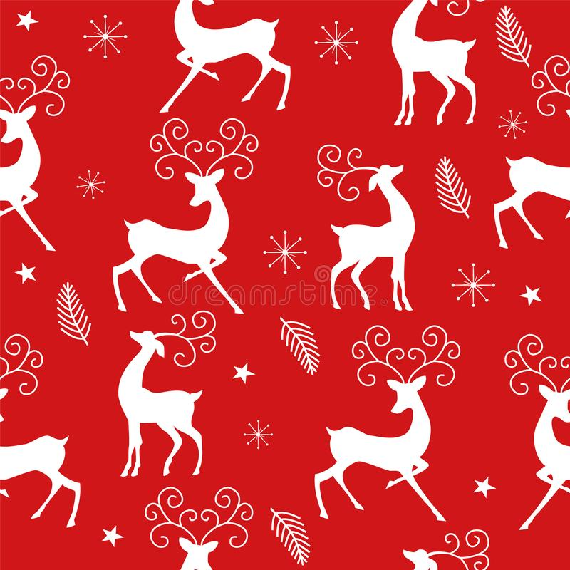Christmas pattern with reindeer on red background. Christmas seamless pattern with white  reindeer, stars, snowflakes and branches on red background vector illustration