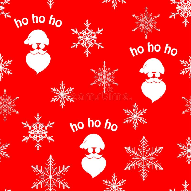 Christmas seamless pattern with white Santa Claus silhouette and snowflakes on red background royalty free illustration