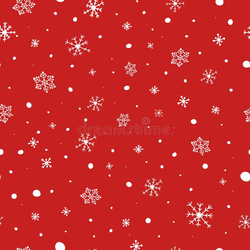 Christmas seamless pattern. White snowflakes on red background. Falling snow vector pattern. Winter Holidays texture stock illustration