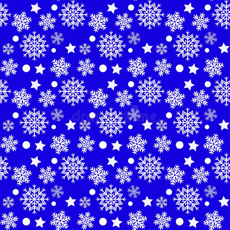 Christmas seamless pattern with white snowflakes and stars on blue background royalty free stock photos