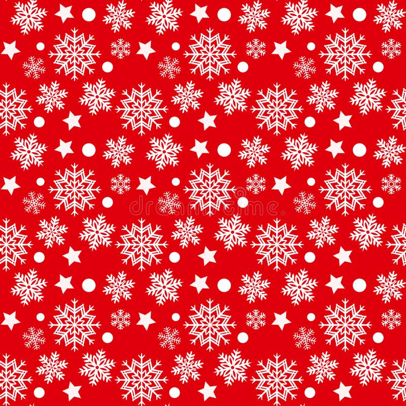 Christmas seamless pattern with white snowflakes and stars on red background stock photography