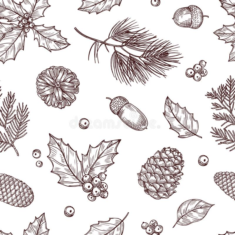 Christmas seamless pattern. Winter fir and pine branches with pine cones. Vintage vector wallpaper in traditional stock illustration