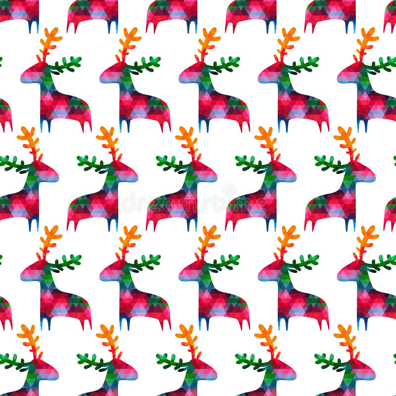 Free Christmas Seamless Pattern With Colorful Deers Royalty Free Stock Photography - 46750157