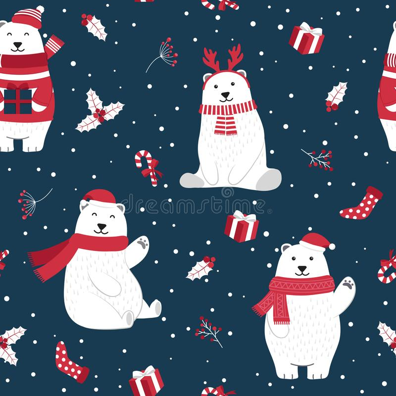 Free Christmas Seamless Pattern With Polar Bear Background, Winter Pattern With Holly Berry, Wrapping Paper, Pattern Fills Stock Photography - 161743322