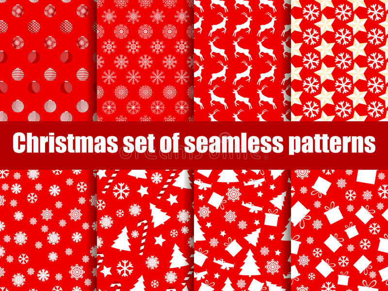 Christmas seamless patterns. Christmas trees, snowflakes and toys. Vector. Illustration royalty free illustration