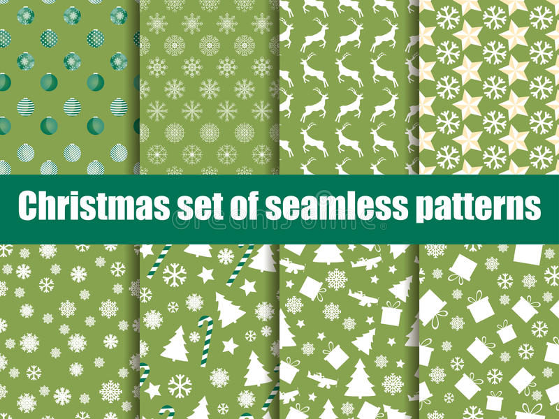 Christmas seamless patterns. Christmas trees, snowflakes and toys. Vector. Illustration stock illustration