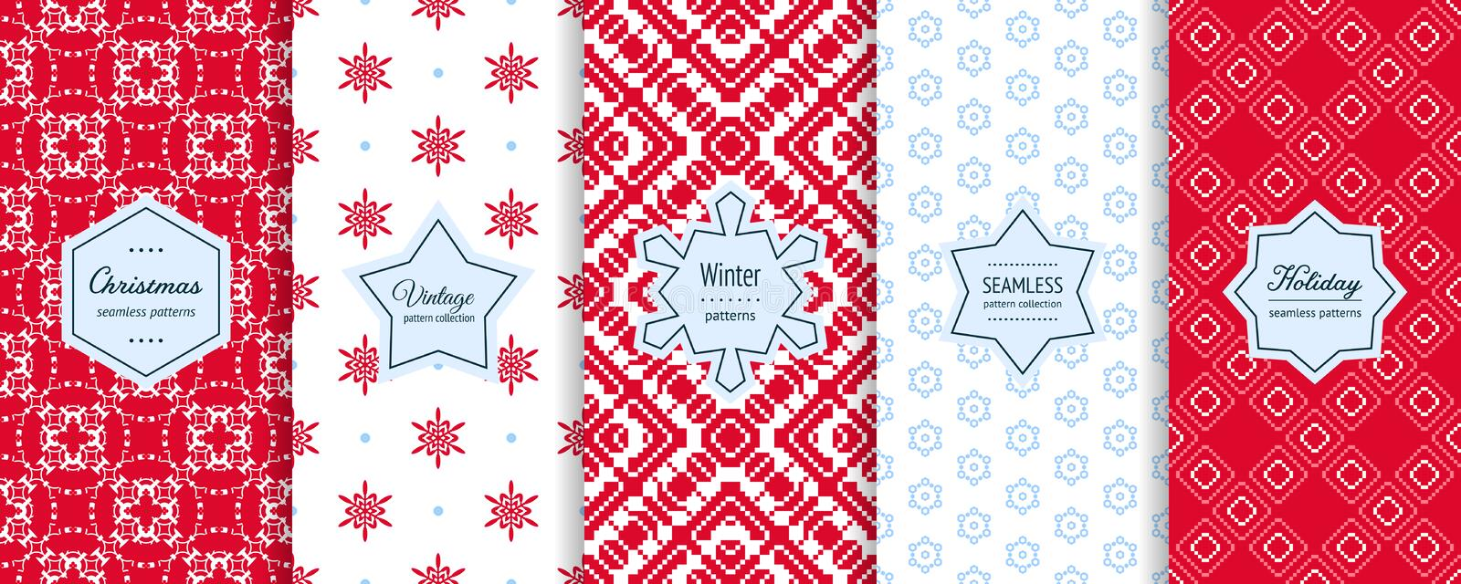 Christmas seamless patterns collection. Vector set of winter holiday backgrounds royalty free illustration