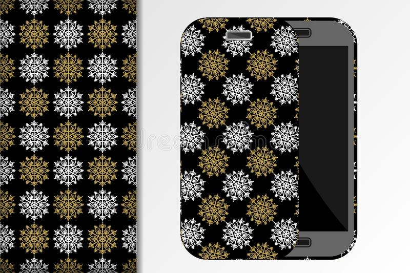 Christmas seamless patterns, Mobile phone and mockup with christmas patterns on a black background Concept for design of fabric. And paper for printing, vector royalty free illustration