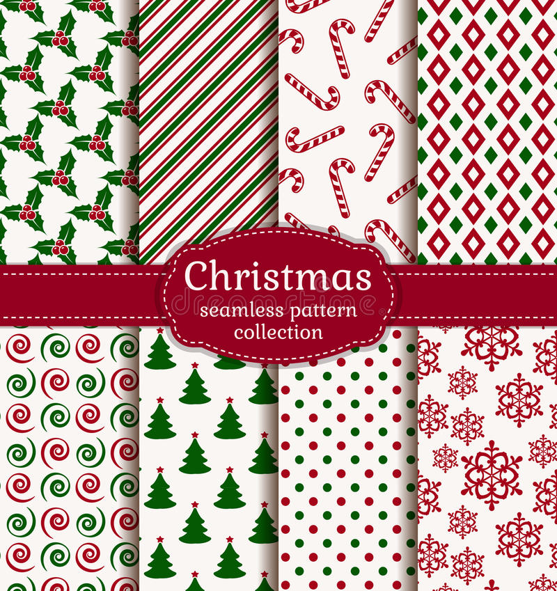 Free Christmas Seamless Patterns. Vector Set. Royalty Free Stock Images - 47260009