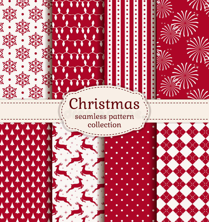 Free Christmas Seamless Patterns. Vector Set. Stock Photos - 47593713