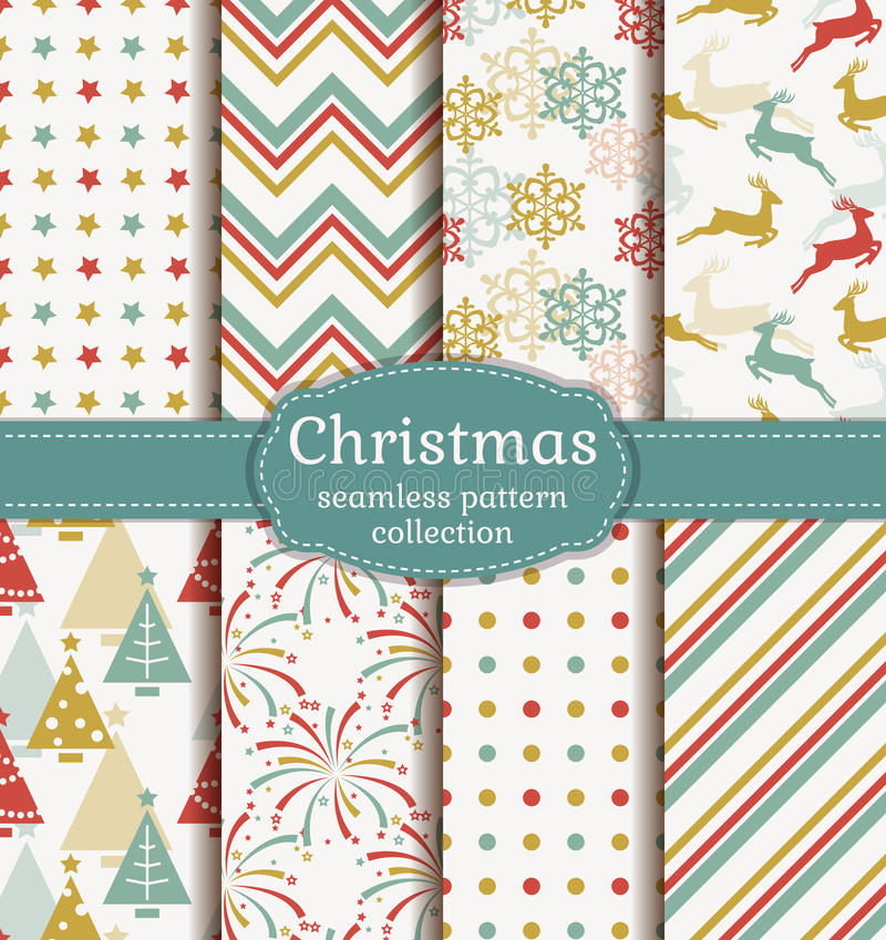 Free Christmas Seamless Patterns. Vector Set. Stock Photos - 61596453