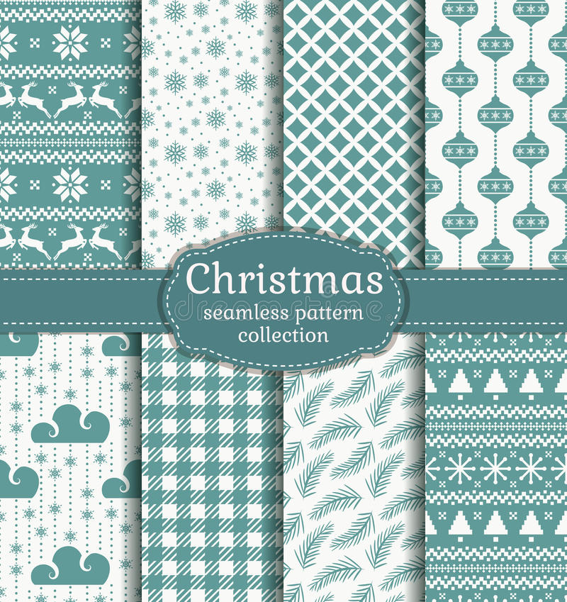 Free Christmas Seamless Patterns. Vector Set. Stock Image - 61677231