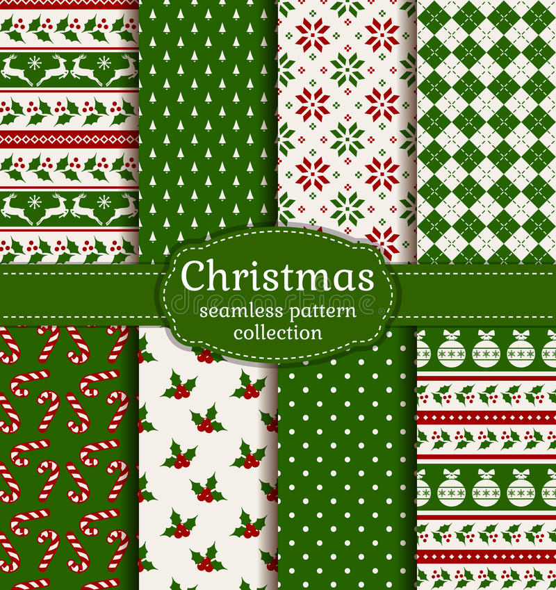 Free Christmas Seamless Patterns. Vector Set. Stock Image - 62436171
