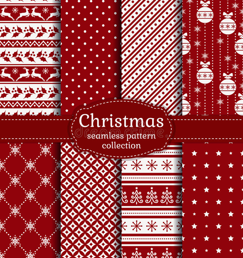 Free Christmas Seamless Patterns. Vector Set. Royalty Free Stock Photography - 62535697