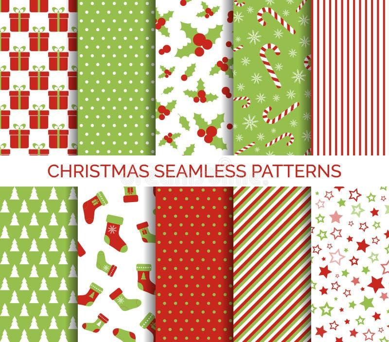 Christmas seamless patterns vector set stock illustration