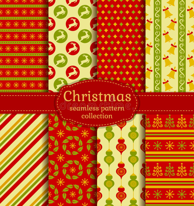 Christmas seamless patterns. Vector set. stock illustration