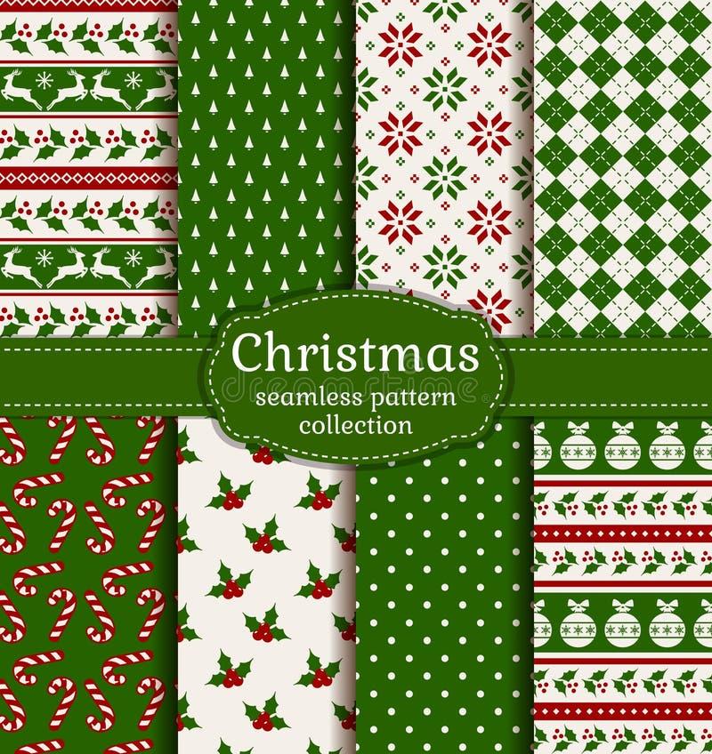 Christmas seamless patterns. Vector set. stock image