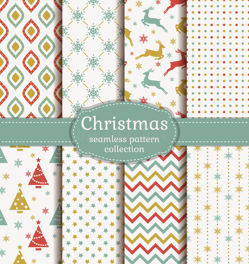 Christmas seamless patterns. Vector set. vector illustration