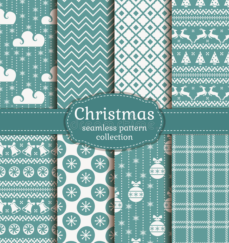 Christmas seamless patterns. Vector set. stock illustration