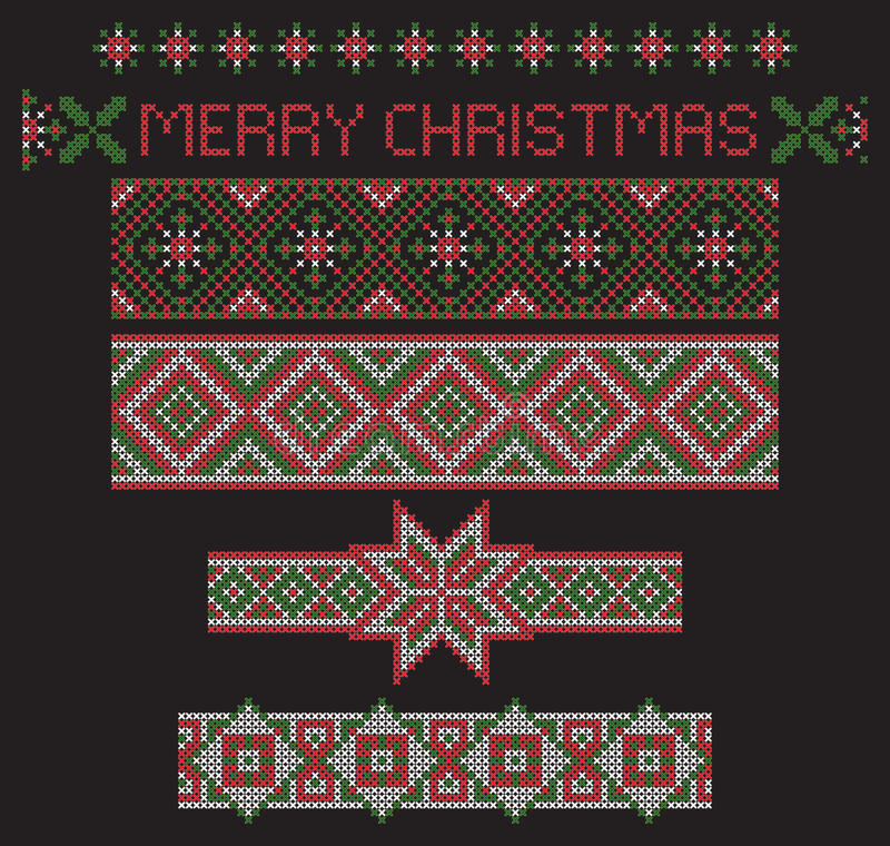 Christmas seamless ribbon patterns, separated from background, cross-stitch embroidery imitation. vector illustration