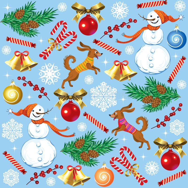 Christmas seamless texture with a snowman and a dog royalty free illustration
